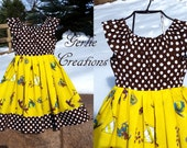 CURIOUS GEORGE Dress, Girls Dress, Curious George, Brown Yellow Dress,  Matilda Dress -  2T - 5