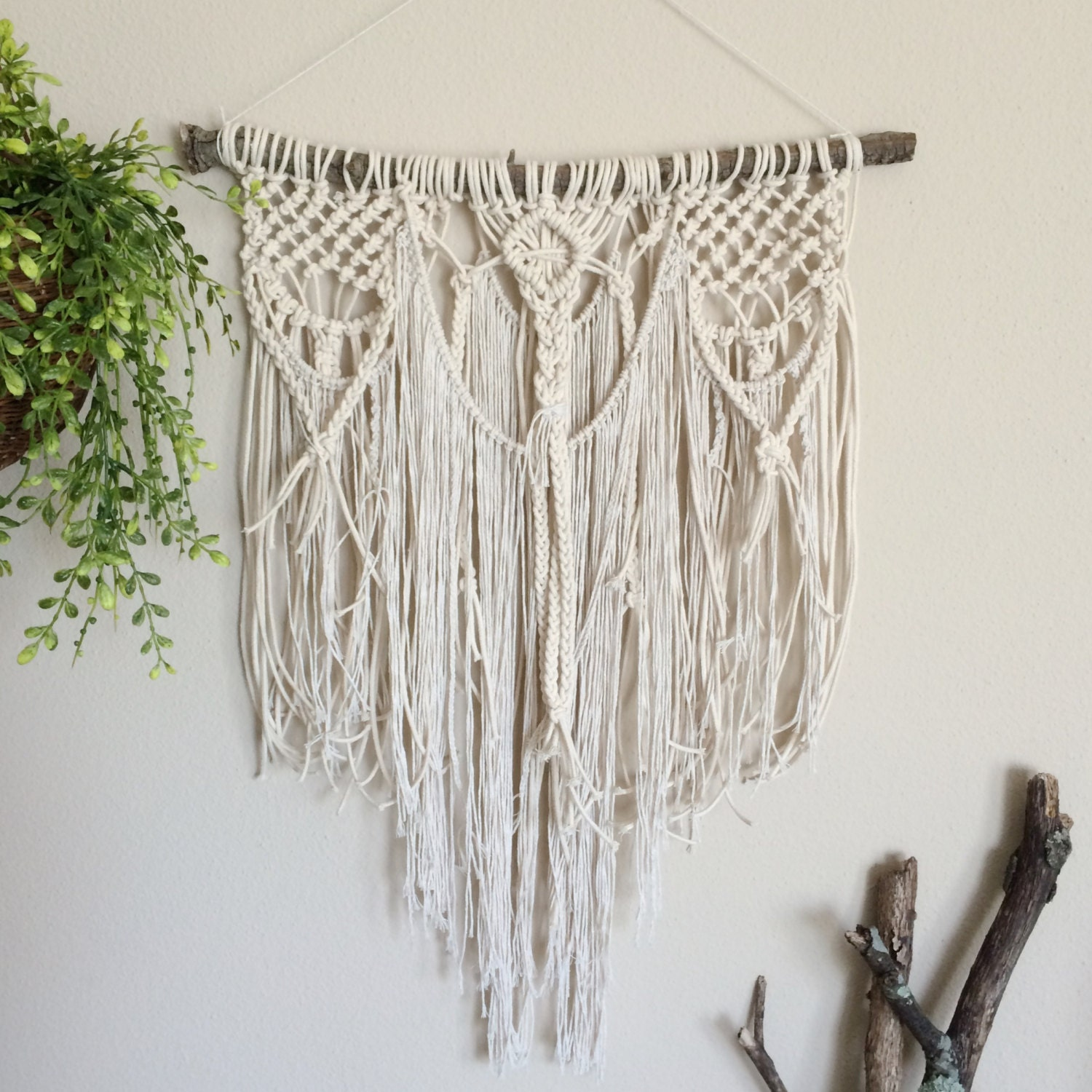 Macrame wall hanging tree branch boho wall decor rustic for Hanging wall decor