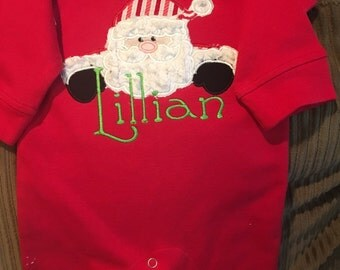 Christmas applique Monag Baby girl or Boy Romper Playsuit Long Sleeve