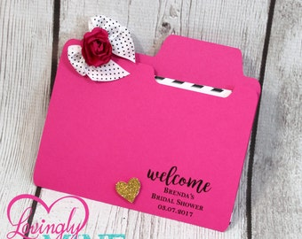 Party Game Folder in Hot Pink, Black & Glitter Gold - Designer Inspired - Perfect for Any Event - Bridal Shower Games, Baby Shower Games