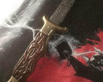 Hand-Carved MJOLNIR Folding Knife