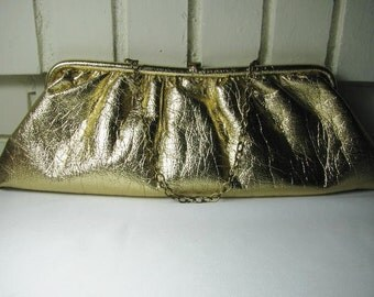 1950's-60's gold crinkled vinyl purse
