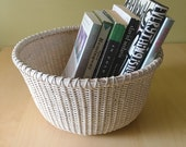 Vintage Upcycled Wicker Basket Wooden Base in Off White/Cream Storage Basket Handwoven