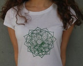 Flower of Life Heart Chakra t-shirt / Womens Sacred Geometry clothing / Bamboo and organic Cotton tee / valentines day gift for her