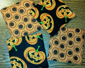 Set of 4 Reversible Halloween Quilted Fabric Coasters - Pumpkin