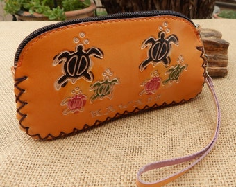 Leather Pouch  ~  Zippered Pouch  ~  Leather Pouch Hawaii Souvenir  ~  Sea Turtle Leather Zippered Pouch  ~  Hibiscus Leather Zippered Pouch