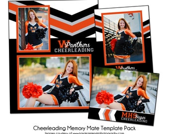 CHEERLEADING PACK A - Sports Memory Mate Photo Templates - Digital Files Only