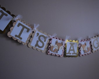 "Fox/Woodland themed ""It's A Girl"" Baby Shower banner"