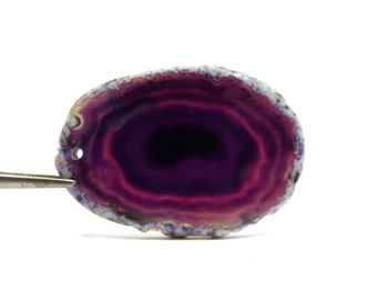 Purple Agate Slice with Drilled Hole 54mm x 37mm Purple Geode Crystal (Lot S75)