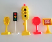 Fisher Price Traffic Light Parking Meter Stop Sign and 2 Bonus Signs Vintage 1980s