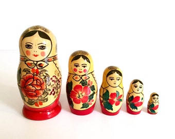 Vintage Wooden Nesting Matryoshka Dolls - Made in USSR - 1960's