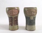 Vintage Mid Century Ceramic Figural Stoneware Goblet Set - UCTCI Japan - Face - Cup - Mug - Glass - Tumbler - Vase