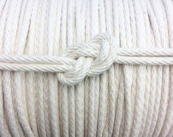"Spool of 3/16"" 100% Cotton Rope - Made in America - Solid Braid Rope, Nautical Decor, Rope Cord, Natural/White"