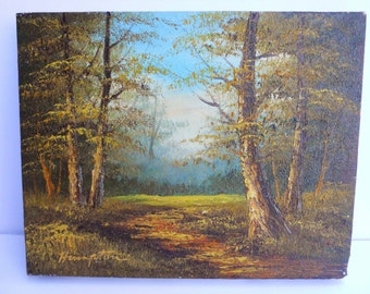 Vintage Retro 1970s 70s Landscape Signed Hampton Wilderness Forest Trees Oil Painting Art Artwork