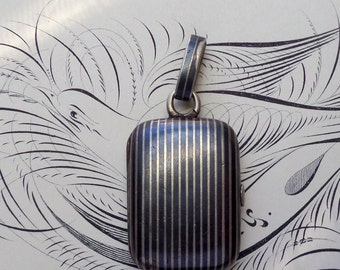 Victorian Niello Hair Locket. Antique Silver. German. Striped. Boxy.