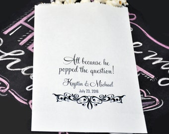 12 Personalized Wedding popcorn bags, Wedding goody bags, Engagement favors, Bridal Shower favors, Wedding Candy Buffet Bags