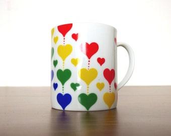 Vintage Rainbow Heart Mug Party Time Shafford MCMLXXXI