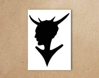 Deer Lady Art Print - Black & White Printable Art - Instant Download - A4 - Deer Silhouette