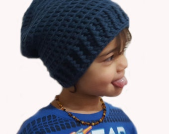 Crochet Slouchy Hipster Textured Hat for Baby Toddler Child- Cape Cod Blue