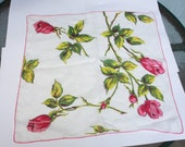 Vintage Handkerchief, Red Pink Roses, Green Leaves, White Handkerchief, Great Condition