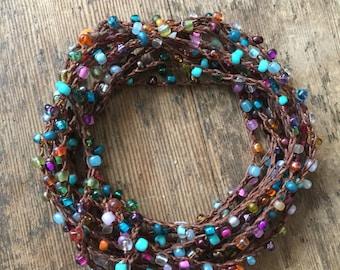 This side of the Rainbow: Versatile crocheted necklace / bracelet / belt / headband