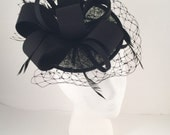 SALE Black Russian Veiling and Feather Fascinator Hat