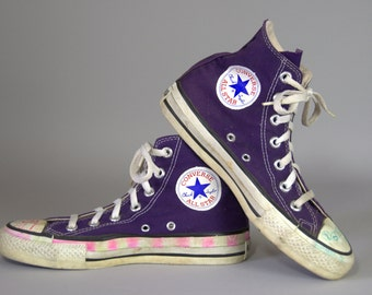 80s Converse Made In USA Purple Chuck Taylor High Top Converse Allstars, 6.5 Womens 4.5 Mens