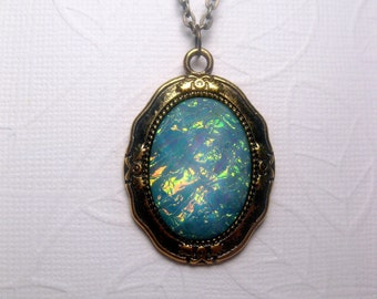 Galaxy Turquoise Pendant Necklace - Rainbow - Opal - Mood Stone - Faceted - Custom Chain Length
