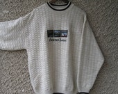 ON SALE: Vintage 'Country Lakes' Mens Knit Sweater with Embroidery size L-Xl
