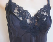 Vintage Full Slip black lace bodice nylon nightgown sexy lingerie 36 bust