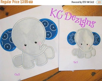 50% OFF SALE Baby Elephant Sitting Machine Applique Embroidery Design - 4x4, 5x7 & 6x8