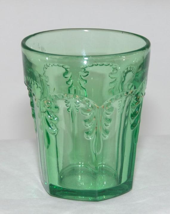"Antique Emerald GREEN PRISCILLA #2 TUMBLER (Acanthus Leaf) Rare Early Fostoria Line #676 Ca 1898, 3 3/4"" t, Excellent Condition"