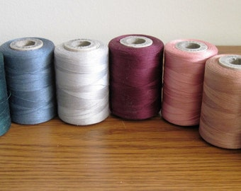 8  Vintage American Thread Company Star 3 Cord Cotton Thread Spools Assorted Colors Lot 1