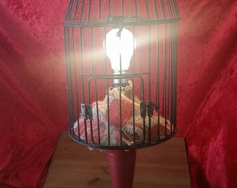 Country Chic or Cottage Style Bircage Upcycled to a Beautiful Table or Accent Lamp