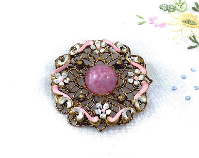 Old Vintage Czech Brooch, Pink Art Peking Glass in Filigree. Handpainted floral brooch. Pink vintage brooch.