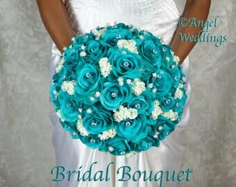 Love OCEANA BLUE Wedding Bridal Groom Wedding Bouquets Bouquet Silk Flowers Arrangement Custom Corsage Boutonniere Bridesmaids Rose Keepsake