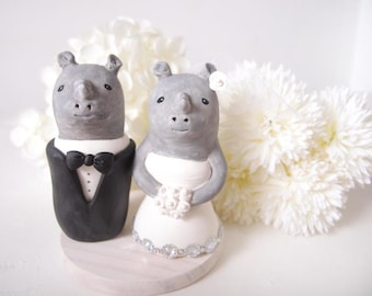 Party Wedding Cake Toppers--Rhinoceros with base