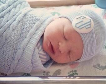 Monogrammed newborn boy hat, newborn hospital hat, Baby boy hat, newborn boy hat, Baby boy hospital hat with initials