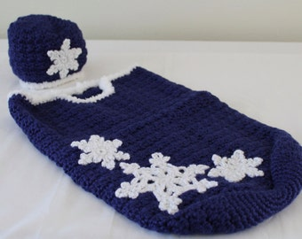 Baby - Crochet Baby Snowflake Cocoon - Sapphire Blue and White Sparkle - Christmas in July Sale - 20% off until July 31st
