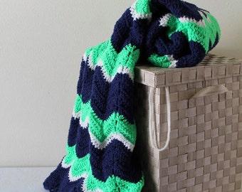 Crochet Afghan - Handmade Ripple Afghan - Bright Green, White, and Navy Blue Blanket