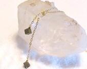 Pyrite Lariat Necklace- Pyrite Wrap Around Necklace- Lariat Necklace with Gold Pyrite Cubes and gold chain-OOAK gift under 50- BFF gift