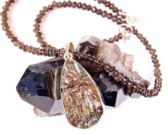 Astrophylite Druzy -Mineral- Teardrop shape Pendant-Smokey Topaz-Beaded Choker-Sterling Silver Pendant-Necklace