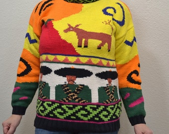 Vintage Ethic  Mexican style novelty graphic knit cotton sweater Nordstrom Size M novelty print ugly dunkey sweater New wave hipster