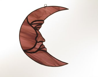 Stained Glass Moon Suncatcher Purple Wispy - Price Includes Shipping