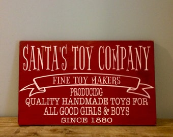 Santa's Toy Company Vintage Style Wood Christmas Sign Decor