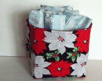 Storage & Organization, Christmas Basket, Container Organizer, Fabric Storage Basket, Poinsettia Print, Medium Size,  Ready To Ship