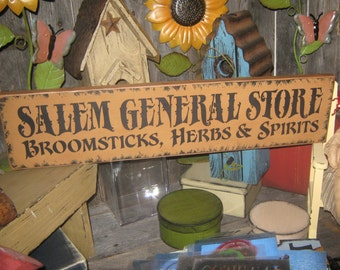 """Primitive Lg Holiday Wood Hand Paint Halloween Salem Witch  -  """" Salem General Store - Broomsticks Herbs Spirits  """"  Country  Rustic Folkart"""