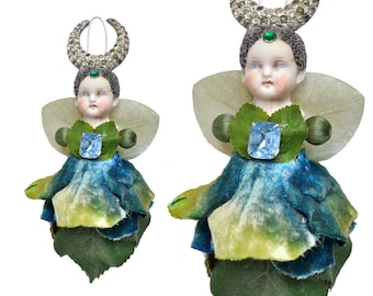 Garden Sprite, mixed media assemblage, flower girl, millinery flowers, altered art doll, by Elizabeth Rosen