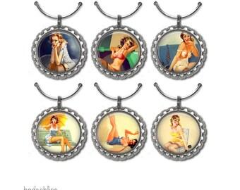 Wine glass charms, Pinup Girls wine glass charms,wine glass charms