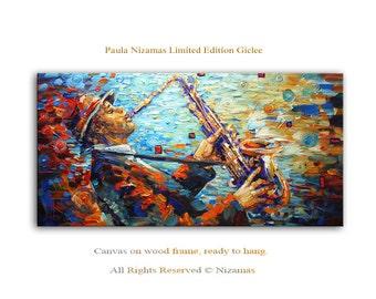 Saxophone Player - Large Abstract Art Giclee on canvas Home Wall Decor Paula Nizamas Ready to hang